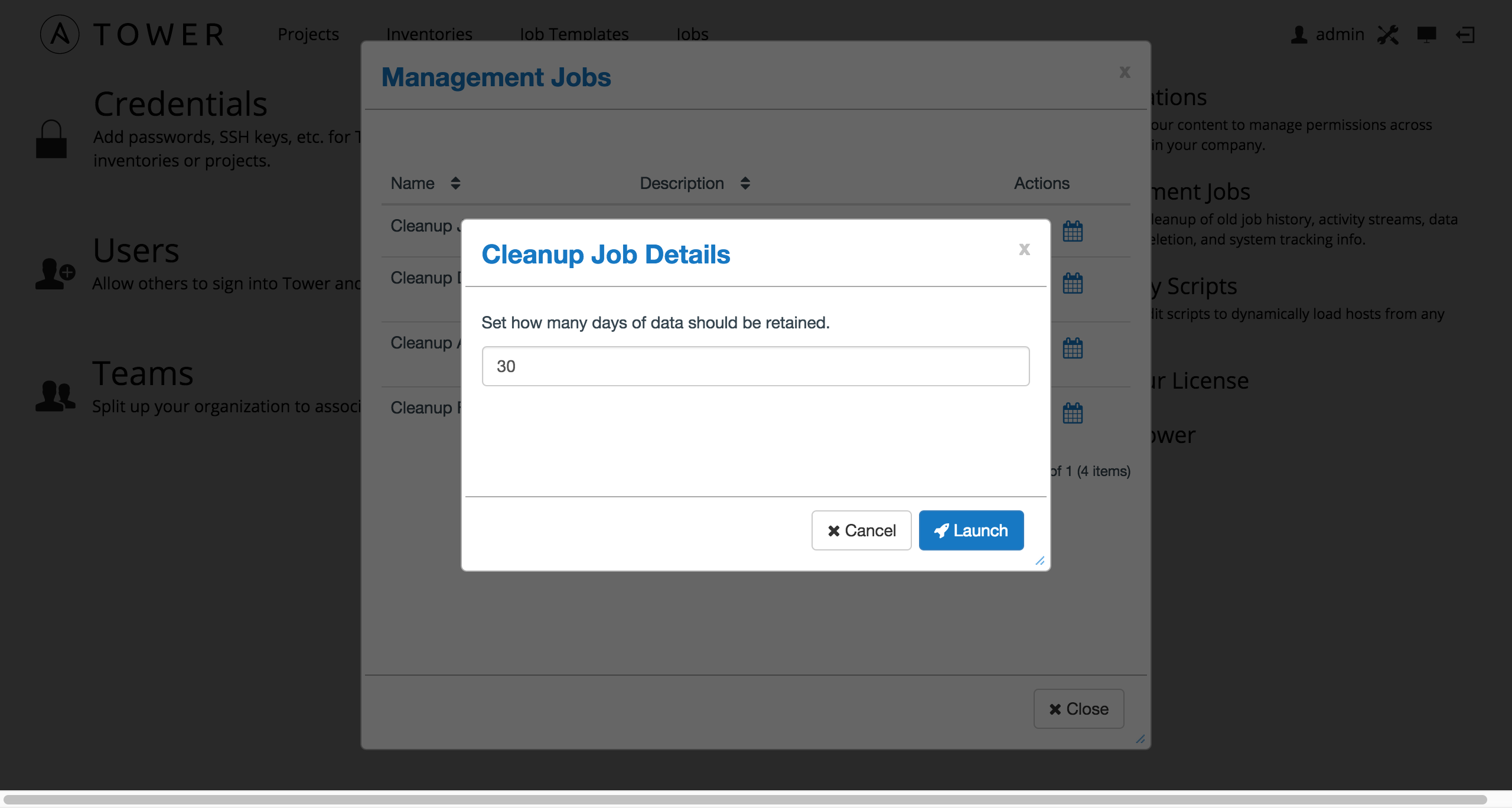 3 management jobs ansible tower administration guide management jobs cleanup job launch