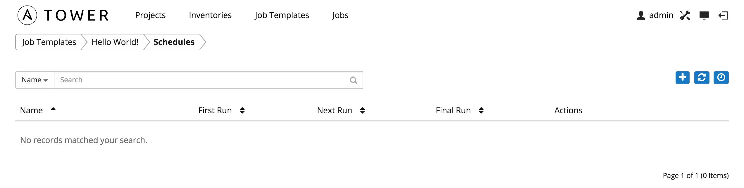 Job Templates   Schedule Launch  Job Manual Template
