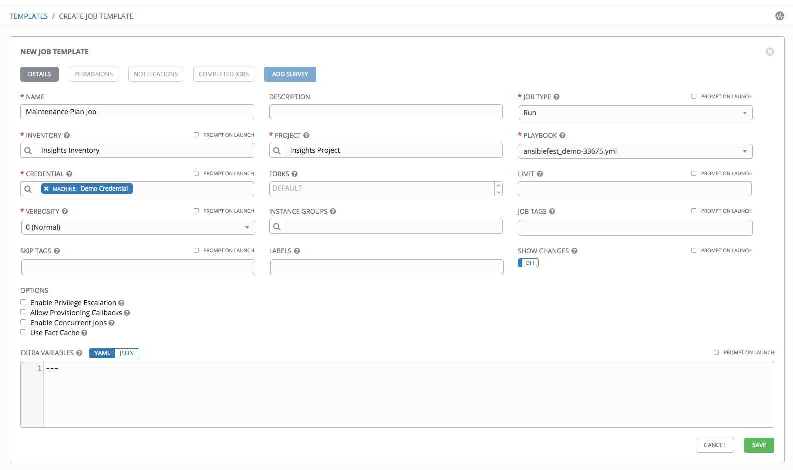 ansible template example - 19 setting up an insights project ansible tower user