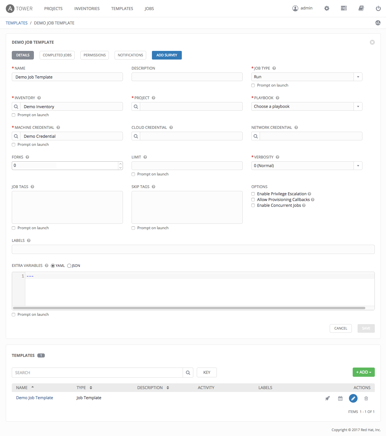 11. Create a new Job Template — Ansible Tower Quick Setup Guide v3.2.4