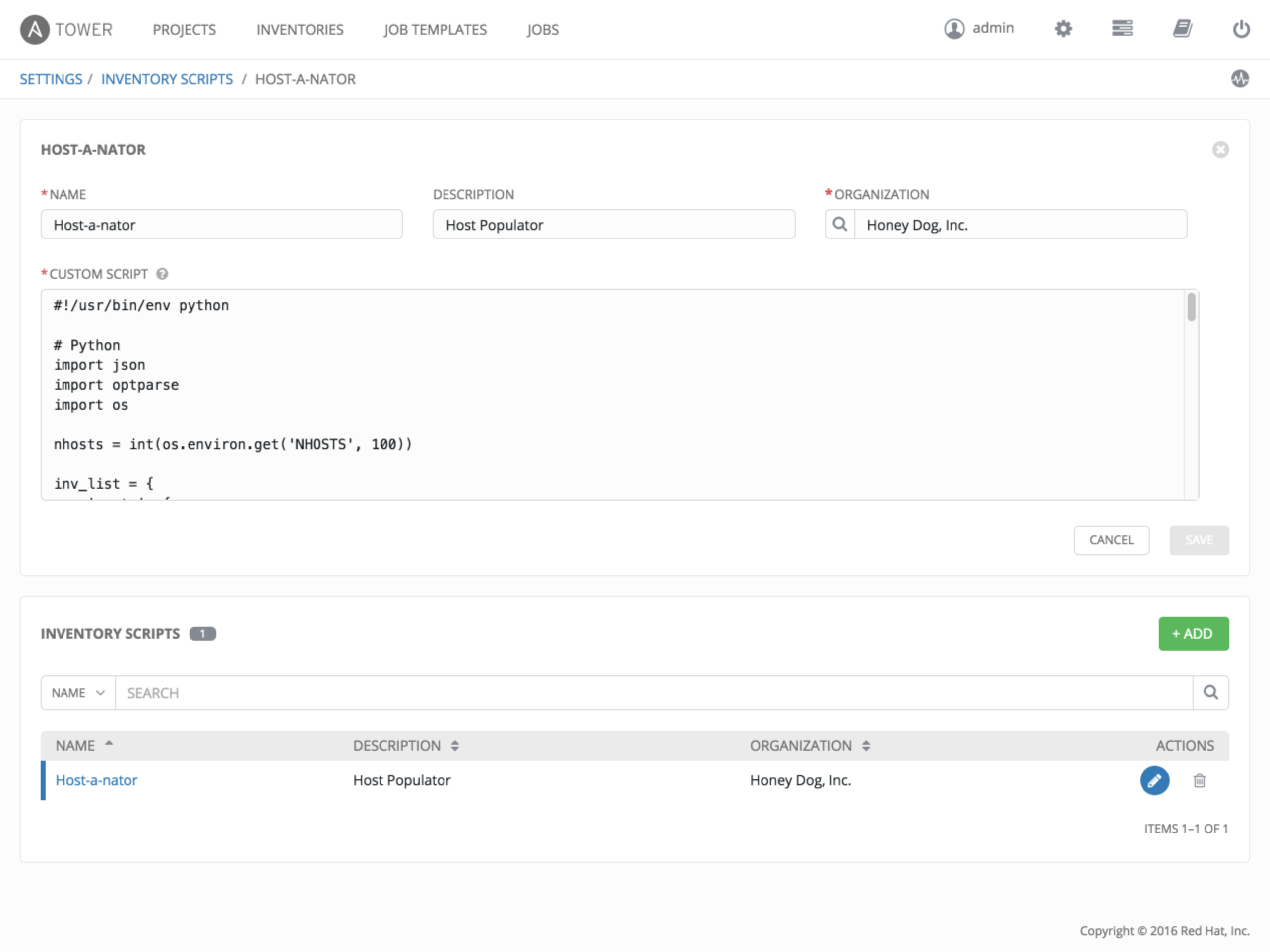 3  Custom Inventory Scripts — Ansible Tower Administration