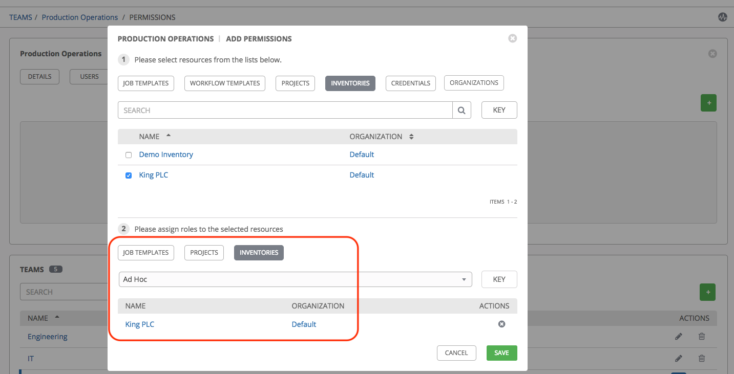 Add Permissions - Sample Section 2